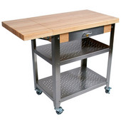 Cucina Elegante Kitchen Cart with Drawer, Maple Top, 10'' Drop Leaf, 40-3/4'' W