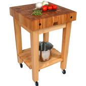 Butcher Block Cart, With Casters, 24'' W x 24'' D x 36'' H