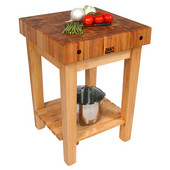 Butcher Block Cart, Without Casters, 24'' W x 24'' D x 36'' H