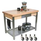 Maple Cucina Grande Kitchen Work Table, with Casters, 60'' W x 28'' D x 35''H