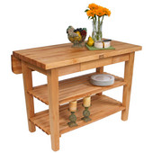 Kitchen Island Bar Work Table, Natural Maple, 60'' W x 24'' D (32'' D with Drop-Leaf Up) x 35''H