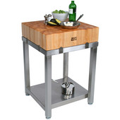 Cucina Laforza Butcher Block Cart, Maple Top and S/S Frame, 24'' W x 24'' D x 35-1/2''H