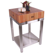 Cucina Laforza Butcher Block Cart, Cherry Top and S/S Frame, 24'' W x 24'' D x 35-1/2''H