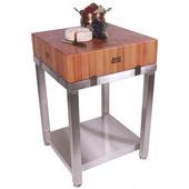 Cucina Laforza Butcher Block Cart, Cherry Top and S/S Frame, 24'' W x 24'' D x 35-1/2''H