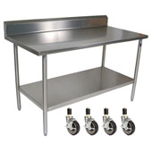 Cucina Tavalo Stainless Steel Work Table with Backsplash & Casters, 60'' W x 30'' D x 36''H