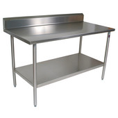 Cucina Tavalo Stainless Steel Work Table with Backsplash, Available in Numerous Sizes