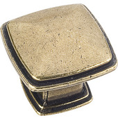 Milan 1 Collection 1-3/16'' W Plain Square Cabinet Knob in Distressed Antique Brass