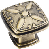 Milan 2 Collection 1-3/16'' W Decorated Square Cabinet Knob in Brushed Antique Brass