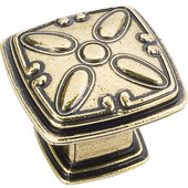 Milan 2 Collection 1-3/16'' W Decorated Square Cabinet Knob in Distressed Antique Brass