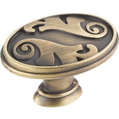 Regency Collection 1-9/16'' Diameter Acanthus Floral Oval Cabinet Knob in Antique Brushed Satin Brass