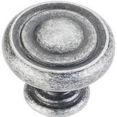 Bremen 1 Collection 1-1/4'' Diameter Round Button Cabinet Knob in Distressed Antique Silver