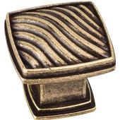 Encada Collection 1-3/16'' W Waved Square Cabinet Knob in Distressed Antique Brass
