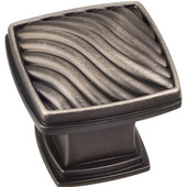 Encada Collection 1-3/16'' W Waved Square Cabinet Knob in Brushed Pewter