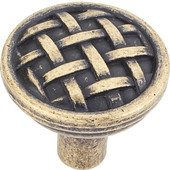 Ashton Collection 1-5/16'' Diameter Small Braided Cabinet Knob in Distressed Antique Brass