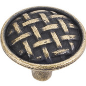 Ashton Collection 1-5/8'' Diameter Large Braided Cabinet Knob in Distressed Antique Brass