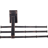 Screw Mounted Tri-Level Tie/ Scarf Rack Organizer, Brushed Oil Rubbed Bronze, Holds 12 ties/scarfs, 6-3/4''W x 2''D x 4''H