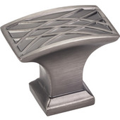 Aberdeen Collection 1-1/2'' W Square Lined Cabinet Knob in Brushed Pewter