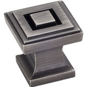 Delmar Collection 1'' W Small Square Cabinet Knob in Brushed Pewter