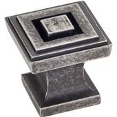 Delmar Collection 1'' W Small Square Cabinet Knob in Distressed Pewter