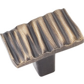Valencia Collection 1-3/16'' W Ruched Rectangle Cabinet Knob in Antique Brushed Satin Brass