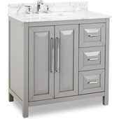 Cade Contempo Bathroom Vanity with Carerra White Marble Top & Sink, Grey, 36''W x 22''D x 36''H