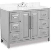 Cade Contempo Bathroom Vanity with Carerra White Marble Top & Sink, Grey, 48''W x 22''D x 36''H