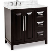 Cade Contempo Bathroom Vanity with Carerra White Marble Top & Sink, Black, 36''W x 22''D x 36''H