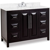 Cade Contempo Bathroom Vanity with Carerra White Marble Top & Sink, Black, 48''W x 22''D x 36''H