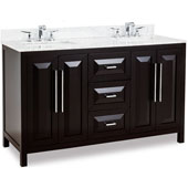 Cade Contempo Bathroom Double Vanity with Carerra White Marble Top and 2 Bowls, Black Finish, 60''W x 22''D x 36''H