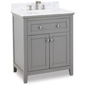 Chatham Shaker Bathroom Vanity with Carerra White Marble Top & Sink, Grey, 30''W x 22'' D x 36''H