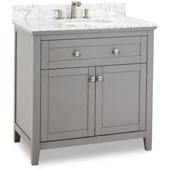 Chatham Shaker Bathroom Vanity with Carerra White Marble Top & Sink, Grey, 36''W x 22''D x 36''H