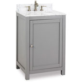 Astoria Modern Bathroom Vanity with Carerra White Marble Top and Bowl, Grey Finish, 24''W x 22''D x 36''H