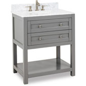 Astoria Modern Bathroom Vanity with Carerra White Marble Top and Bowl, Grey Finish, 30''W x 22''D x 36''H