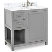 Astoria Modern Bathroom Vanity with Carerra White Marble Top and Bowl, Grey Finish, 36''W x 22''D x 36''H