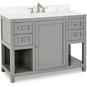 Astoria Modern Bathroom Vanity with Carerra White Marble Top and Bowl, Grey Finish, 48''W x 22''D x 36''H