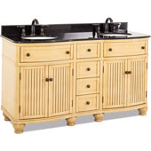 Compton Bath Elements Vanity with Granite Top & Sink, Buttercream Painted, 60-1/2''W x 23''D x 35''H