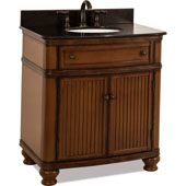 Compton Painted Walnut Bath Elements Vanity with Black Granite Top & Sink, 32''W x 23''D x 35''H