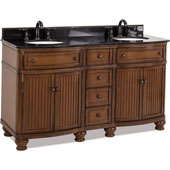 Compton Painted Walnut Bath Elements Double Base Vanity with Black Granite Top & Sink, 60-1/2''W x 23''D x 35''H