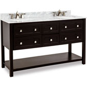 Adler Bath Elements Vanity with White Marble Top & 2 Sinks, Black Painted, 60''W x 22-1/2''D x 36''H