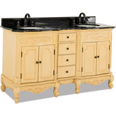 Clairemont Bath Elements Vanity with Granite Top & Sink, Painted Buttercream, 60-7/8''W x 22-7/8''D x 35-3/4''H