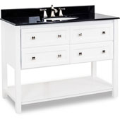 Adler Painted White Bath Elements Vanity with Granite Top & Sink, 48''W x 22-1/2''D x 36''H