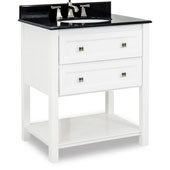 Adler Painted White Bath Elements Vanity with Granite Top & Sink, 31''W x 22-1/2''D x 36''H