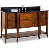 Philadelphia Classic Vanity with Granite Top & Sink, Chocolate, 60-1/2''W x 22-1/4''D x 36''H