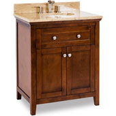 Chatham Shaker Vanity with Marble Top & Sink, Chocolate, 30''W x 22''D x 36''H