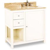 Astoria Modern Vanity with Marble Top & Sink, Cream White, 36''W x 22''D x 36''H