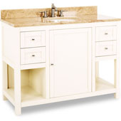 Astoria Modern Vanity with Marble Top & Sink, Cream White, 48''W x 22''D x 36''H