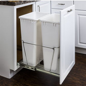 Double 50 Quart (12.5 Gallon) Pullout Waste Bins, Chrome Wire Bottom Mount, Cans Sold Separately