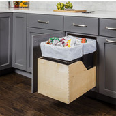 Double 50 Quart (12.5 Gallon) Pullout Waste Bins, Black Cans, Wood Bottom Mount