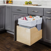 Double 50 Quart (12.5 Gallon) Pullout Waste Bins, Gray Cans, Wood Bottom Mount