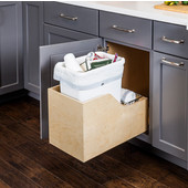 Single 35 Quart (8.75 Gallon) Pullout Waste Bin, White Can w/ Trash Bag Basket, Wood Bottom Mount